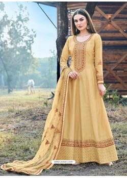 Cream Heavy Embroidered Designer Dola Silk Anarkali Suit