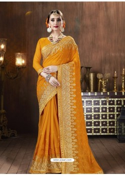 Yellow Designer Party Wear Embroidered Georgette Sari