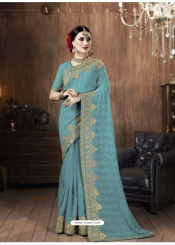 Blue Designer Party Wear Embroidered Georgette Sari