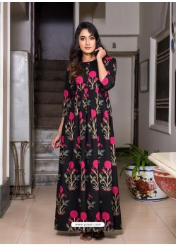 Black Designer Printed Party Wear Maxi Long Maslin Kurti