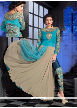 Preferable Georgette Turquoise Designer Suit