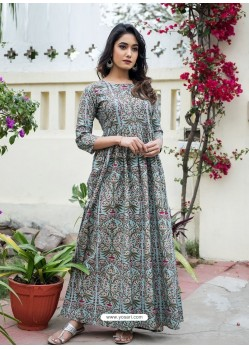 Grey Designer Printed Party Wear Maxi Long Maslin Kurti