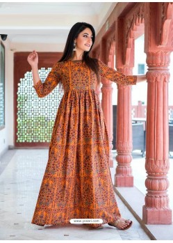 Orange Designer Printed Party Wear Maxi Long Maslin Kurti