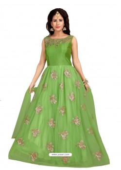 Parrot Green Fabulous Readymade Designer Party Wear Anarkali Suit