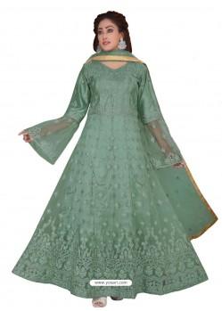 Grayish Green Fabulous Readymade Designer Party Wear Anarkali Suit