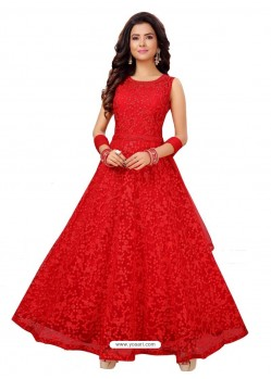 Red Fabulous Readymade Designer Party Wear Anarkali Suit