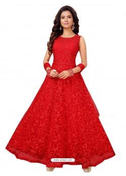 Red Fabulous Readymade Designer Party Wear Anarkali Suit