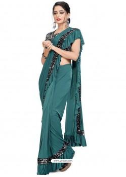 Teal Blue Sensational Designer Party Wear Imported Lycra Sari