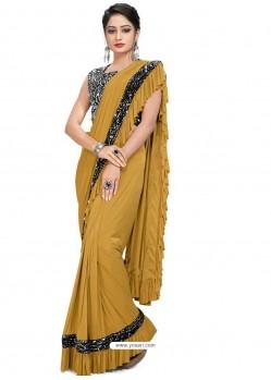 Mustard Sensational Designer Party Wear Imported Lycra Sari