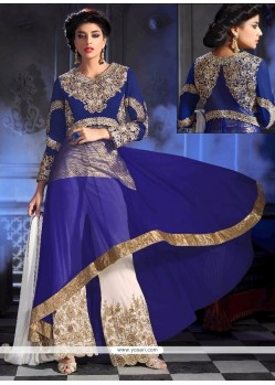 Sterling Embroidered Work Georgette Blue Designer Palazzo Salwar Kameez
