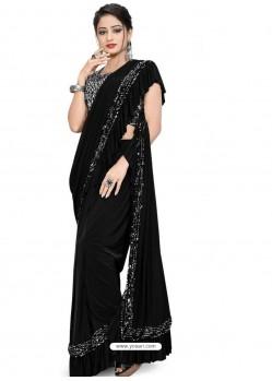 Black Sensational Designer Party Wear Imported Lycra Sari