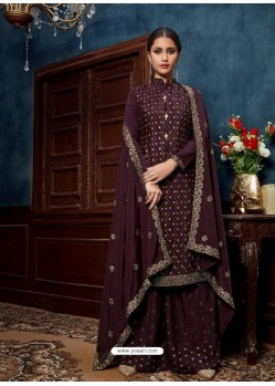 Deep Wine Designer Chinnon Party Wear Palazzo Salwar Suit