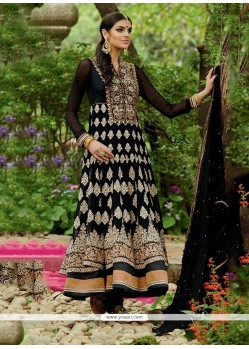 Dainty Embroidered Work Black Georgette Anarkali Salwar Suit