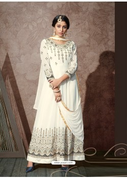 White Splendid Heavy Designer Georgette Party Wear Anarkali Suit