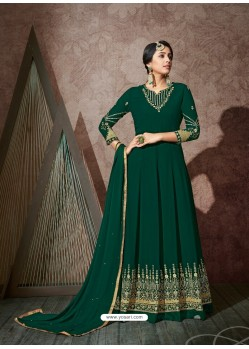 Dark Green Splendid Heavy Designer Georgette Party Wear Anarkali Suit