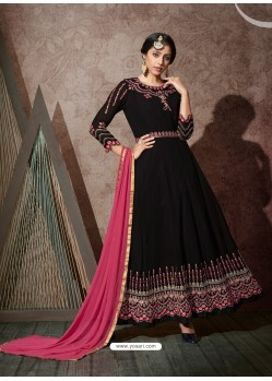 Black Splendid Heavy Designer Georgette Party Wear Anarkali Suit