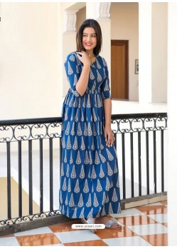 Dark Blue Designer Printed Party Wear Maxi Long Maslin Kurti