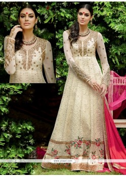 Customary Off White Lace Work Designer Floor Length Salwar Suit