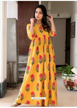 Yellow Designer Printed Party Wear Maxi Long Maslin Kurti