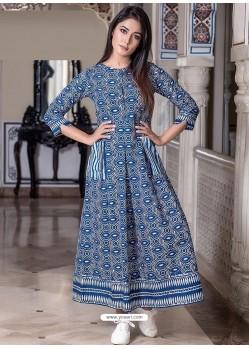 Blue Designer Printed Party Wear Maxi Long Maslin Kurti