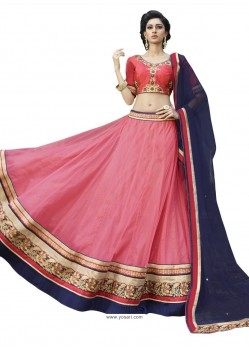 Pink Radiant Heavy Embroidered Designer Party Wear Lehenga