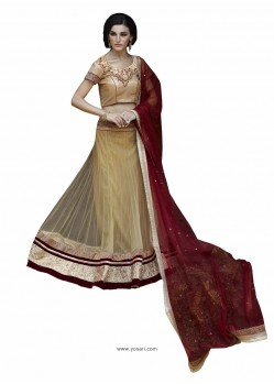 Beige Radiant Heavy Embroidered Designer Party Wear Lehenga