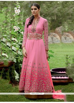 Imposing Resham Work Georgette Anarkali Salwar Suit