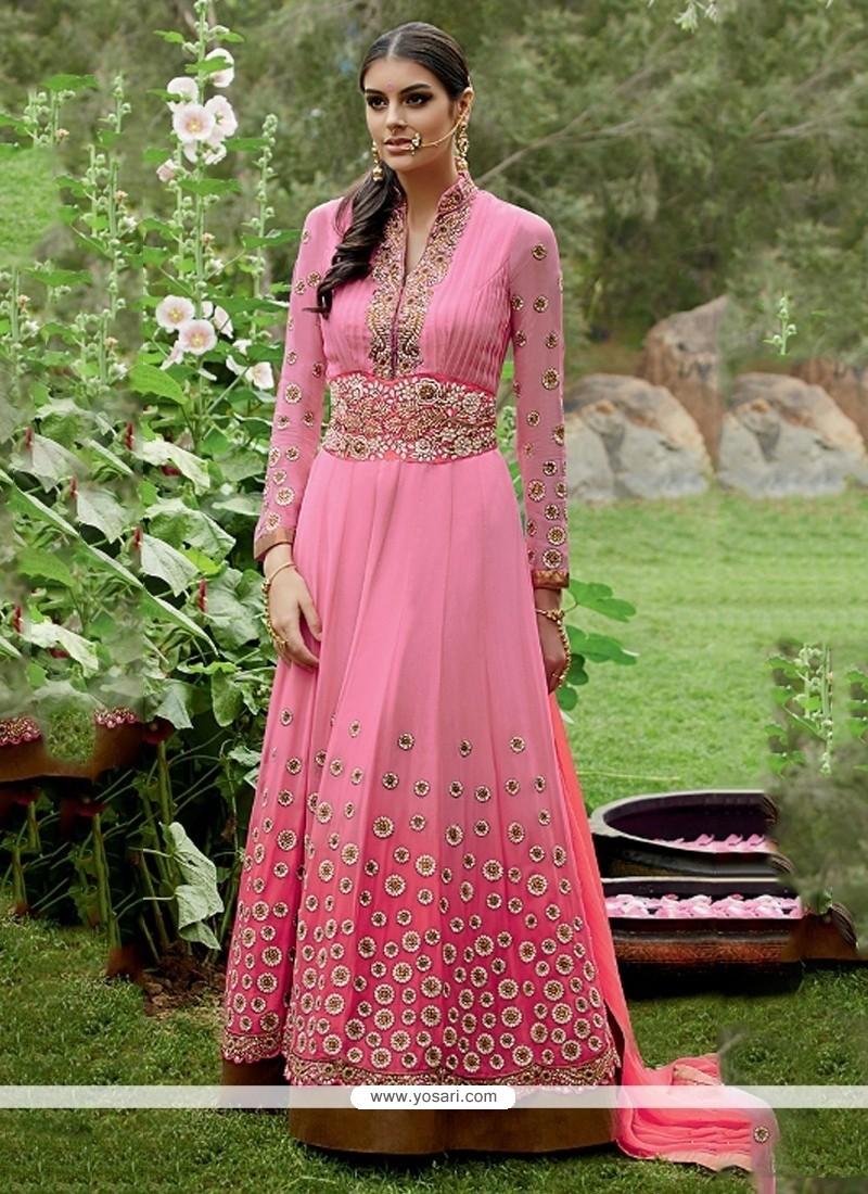 Imposing Resham Work Georgette Anarkali Salwar Suit