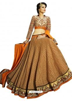 Orange Heavy Embroidered Designer Party Wear Lehenga