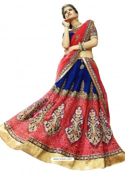 Pink Heavy Embroidered Designer Party Wear Lehenga