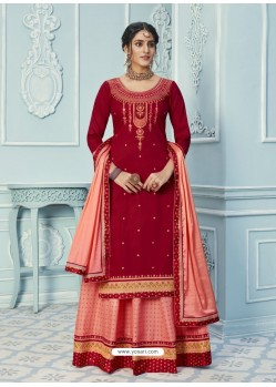 Red Stylish Designer Embroidered Lehenga Style Wedding Suit
