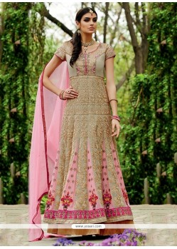 Deserving Pink Resham Work Georgette Anarkali Suit