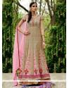 Deserving Pink Resham Work Georgette Anarkali Suit