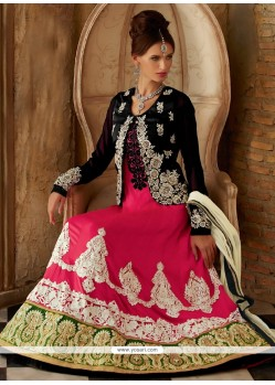 Hot Pink Silk Resham Anarkali Suits