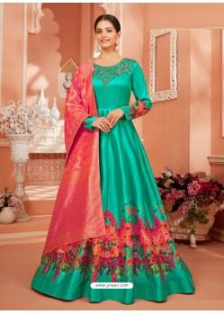 Jade Green Dazzling Heavy Designer Monga Satin Silk Party Wear Anarkali Suit