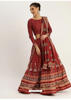 Maroon Heavy Designer Vailshali Silk Party Wear Lehenga