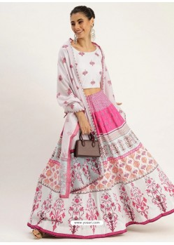 White Heavy Designer Vailshali Silk Party Wear Lehenga