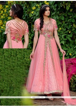 Superlative Net Embroidered Work Anarkali Salwar Kameez