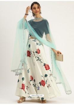 Off White Girlish Designer Party Wear Lehenga