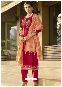 Red Latest Heavy Designer Party Wear Straight Salwar Suit