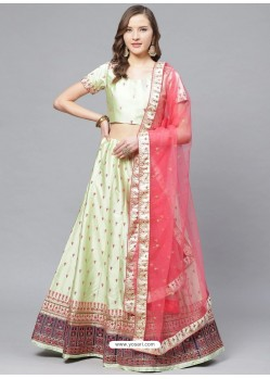 Green Gorgeous Embroidered Designer Party Wear Lehenga