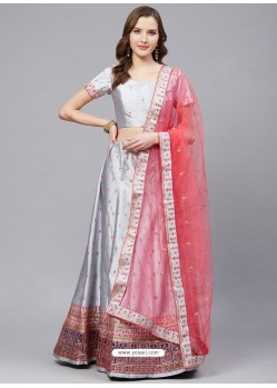 Grey Gorgeous Embroidered Designer Party Wear Lehenga