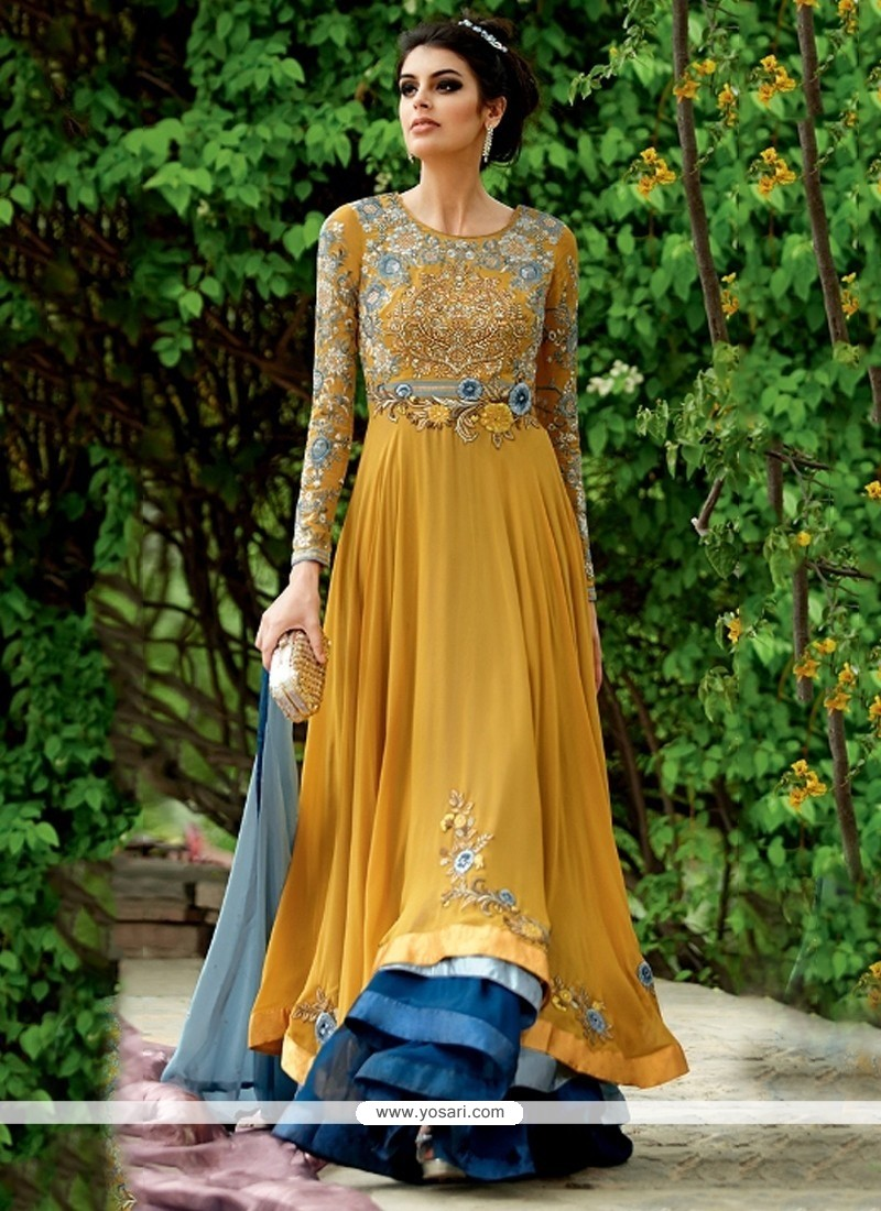 Arresting Georgette Yellow Embroidered Work Anarkali Suit