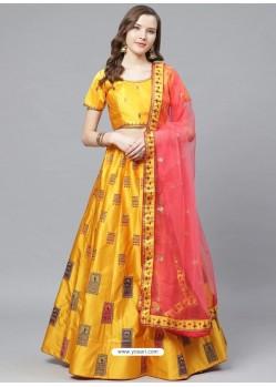 Yellow Gorgeous Embroidered Designer Party Wear Lehenga