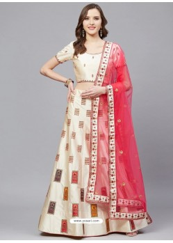 Off White Gorgeous Embroidered Designer Party Wear Lehenga