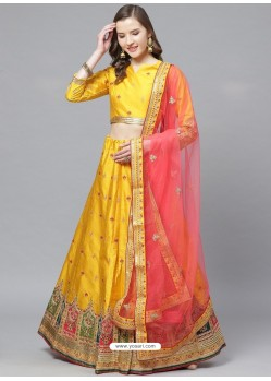 Yellow Gorgeous Embroidered Designer Party Wear Lehenga