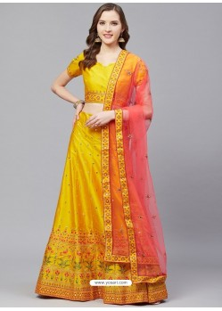 Mustard Gorgeous Embroidered Designer Party Wear Lehenga