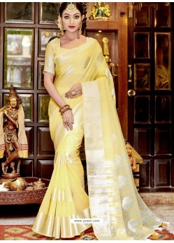Light Yellow Stylist Party Wear Designer Linen Sari