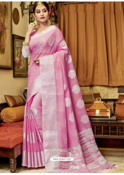 Light Pink Stylist Party Wear Designer Linen Sari