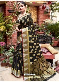Black Designer Party Wear Cotton Handloom Sari